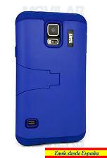 Funda Samsung G900 Galaxy S5 protectora / bumper con soporte azul oscuro