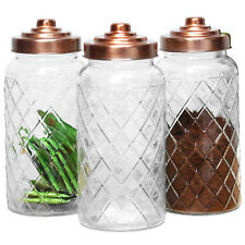 3 X 1400ml Gl Kitchen Food Storage Jars Copper Lid Tea Coffee Sugar Canisters
