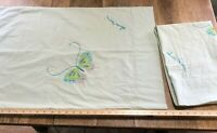 "Vintage Hanae Mori Butterfly Pillow Case pair Standard 20"" x 30"" green blue"