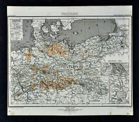 1875 Lange Map - Prussia - Germany Brandenburg Berlin Dresden Hamburg Frankfurt