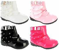GIRLS INFANTS WINTER ZIP BOOTS BABIES PARTY TODDLERS WARM FUR ANKLE SHOES SZ 4-7