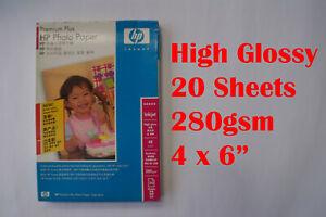 "20 sheets Genuine HP High Glossy Photo Paper 280 gsm 4 x 6"" 4R Borderless"