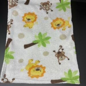 Nojo Making Miracles Baby Blanket White Monkeys Lions Palm Trees Fleece Tan Dots