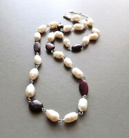 Freshwater pearl & ruby gemstone necklace .. 925 cultured baroque bead jewellery