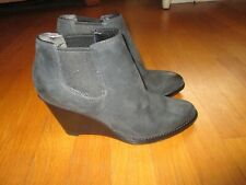 Ladies Cole Haan Grand OS Black Suede Leather Wedge Ankle Boots Booties Size 8B