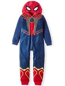 Marvel SPIDERMAN Boy's size 6/7 HOODED SLEEPER PAJAMAS Fleece ~ New with Tags