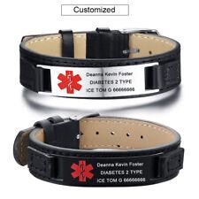 Personalized ID ICE Genuine Leather Medical Alert Nameplate Bracelet Cuff Bangle