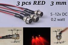12v led Indicator Lights 3pcs RED Lamp Pilot Dash Directional Car Truck Boat