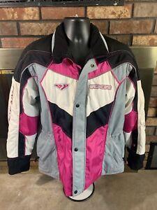 FXR Snowmobile Racing Team RL Jacket Black Pink Womens Size 12 Sled Winter EUC