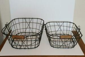 NWTF Wire Baskets Magazine Holders Rustic w/Wooden Handle