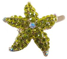 Magnet Hair Clip use Swarovski Crystal Hairpin Starfish Seastar Mermaid Yellow 2