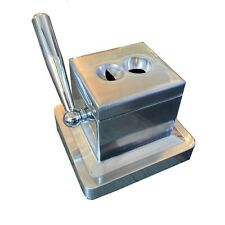 Table Top Desk Cigar Cutter Guillotine & V Cut - Silver