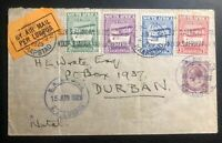 1925 Cape Town South Africa Early Airmail Cover to Durban