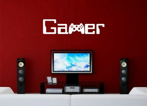 WALL ART STICKER QUOTE GAMER GAMING BOYS BEDROOM WORDS PS4 XBOX HOME DECOR DIY