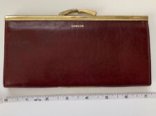 Vtg BUXTON ORGANIZER Leather Cowhide Clutch Wallet Coupons Cards Kiss Closure