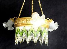 LUSTRE SUSPENSION ART-DECO NOUVEAU tete belier tulipe collier de perles verre