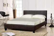 Single Bed 3ft Choc Faux Leather Mattress - Sophia