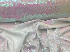 White/pink Hologram Mermaid Fish Scales-2 Way Stretch Lycra-2 Tone Sequins ..