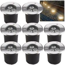 LED Edelstahl Bodenleuchte 8X Set 3W Außen Garten Einbaustrahler Wegbeleuchtung