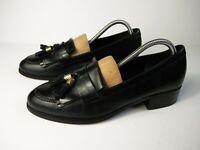 WOMENS CARVELA UK 8 EU 41 BLACK LEATHER FRINGE TASSLE SLIP ON SMART LOAFER SHOES