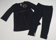 ABS KIDS BY ALLEN SCHWARTZ GIRLS 3T OUTFIT BLACK & GOLD TOP PANTS SEQUINS SET