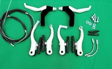 Redneck Sports White Alloy MTB / BMX brake levers,  V brakes & cableS SET
