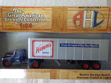 AHL  1:64 DIE-CAST FORD F7 TRACTOR TRAILER HAMM'S BEER