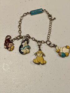 Ganz Webkinz Charm Bracelet with 4 Charms Monkey, Dog, Cat & Goose Original 7.5""