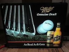 Vintage Miller Genuine Draft Beer Golf Swing Light Up Illuminated Bar Sign