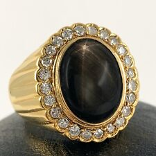 Black Star Sapphire Halo Ring in 18K Yellow Gold w 24 Old Cut Diamonds, 11 Grams