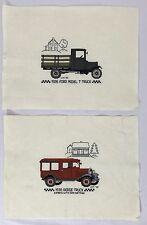 Pair VTG Needlepoints Antique 1930 Dodge 1926 Ford Model T Truck Automotive Car