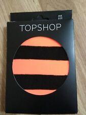Topshop Neon Orange Black Stripe Tights one size