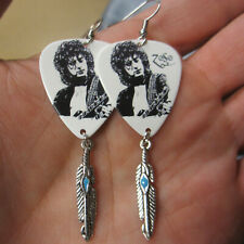 Jimmy Page/Led Zeppelin Earrings; Mixed Media Guitar Pick Jewelry w/Feather
