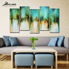 Original Abstract Oil Painting on Canvas Hand Painted Framed Wall Art 28X50''
