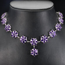 Silver 925 Genuine Natural Deep Amethyst Floral Design Drop Necklace 20.5 In