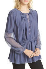 Brand New FREE PEOPLE The Soul Serene Blue Mesh Long Sleeve Blouse, Size XS