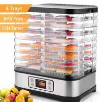 5/8 Tray Food Dehydrator Stainless Steel Fruit Jerky Dryer Blower Commercial