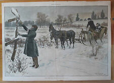 A.B. Frost, Horse Drawn Sleigh, Christmas Visit, Vintage, 1887 Antique Print