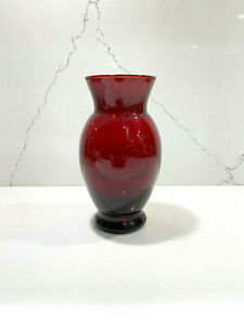 "Vintage Anchor Hocking 6"" Flared Vase Royal Ruby"