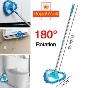 Telescopic Mop Microfibre Mop Triangle Bathroom Shower Tile Glass Cleaning Wand