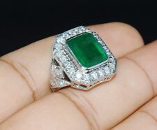 Certified Natural 7.4ct VS F Diamond Emerald 18K Solid Gold Cocktail Dinner Ring