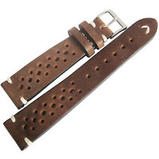 18mm Mens Fluco Hunter Racing Rally Brown German Made Leather Watch Band Strap