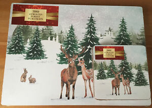 Tesco Christmas Frosted Forest Set Of 4 MDF Cork Wipe Clean Placemats & Coasters