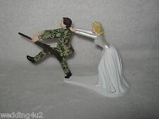 Wedding Reception Party Military Gun Camo Run Away Groom Cake Topper
