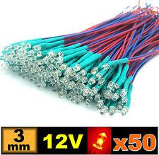 pre wired LED white 3 mm 256# LED 3mm 12v pré-câblé blanche de 5 à 100pcs