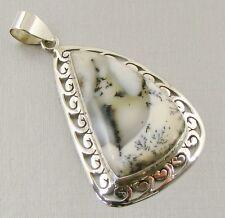 Semi-Precious DENDRITIC OPAL Gemstone 925 Sterling Silver Pendant - A69
