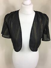 Roman Noir Or Métallique à Rayures Rayées cropped bolero shrug Sheer UK 12 (BK)