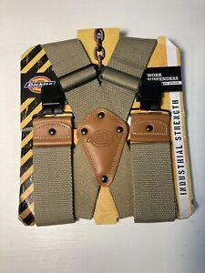 Dickies Mens Industrial Strength Ballistic Nylon Work Suspenders Khaki Tan NWT