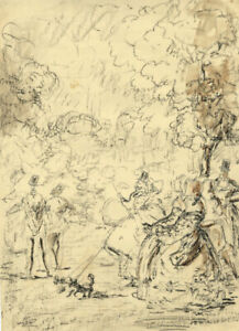 Harold Hope Read, In the Park – Original early 20th-century charcoal drawing