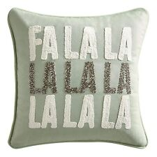 Pier 1 Imports Beaded Fa La La La La Mini Throw Pillow Green New